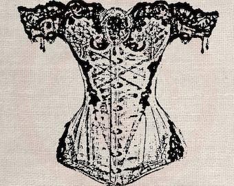 Clip Art Designs Transfer Digital File Vintage Download Corset Paris France Fashion Moulin Rouge Woman No. 0076