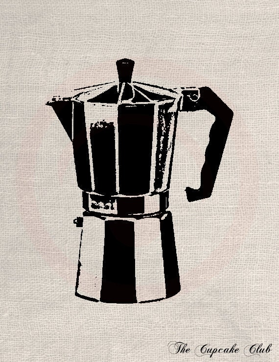 Italian Coffee Maker Old : Items similar to Clip Art Designs Transfer Digital File Vintage Download Old Italian Coffee ...