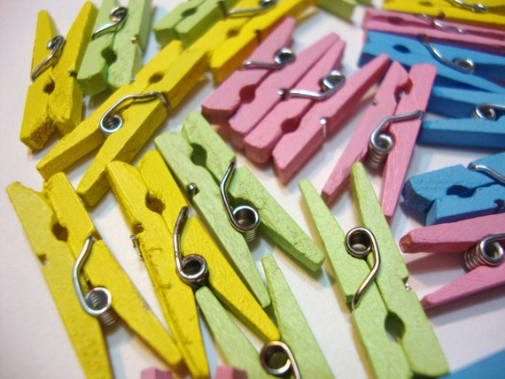 Mini Colorful Pastel Wood Clothespins