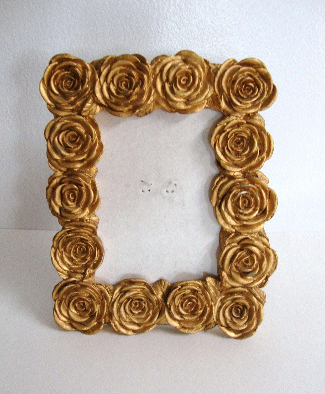 upcycled gold rose picture frame. Black Bedroom Furniture Sets. Home Design Ideas
