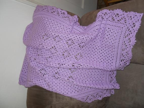 Crochet Baby Blanket Basket Weave Pattern : Light Purple Basket Weave Eyelet Crochet Baby Blanket