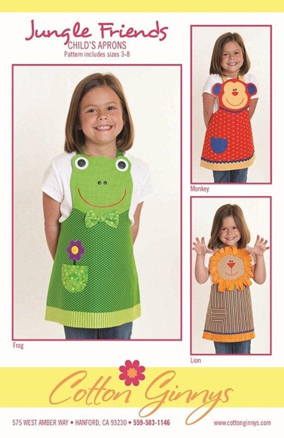 Cotton Ginny's Jungle Friends Child's Apron Sewing Pattern