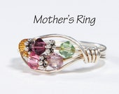 5 stone Grandmother's/Mother's Birthstone Ring: Personalized Sterling Silver Grandmother's multistone Family Ring. Five Swarovski Crystals