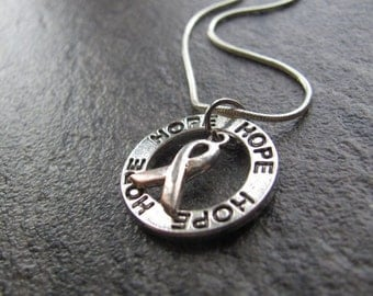Brain Cancer and Parkinson's Necklace. Silver Grey ribbon charm. Awareness for Diabetes, Brain Tumors, Asthma, Sciatic Pain, Dyslexia