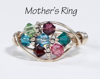 7 stone Grandmother's/Mother's Birthstone Ring: Personalized Sterling Silver multi-stone Family. Seven Swarovski Crystals. Mother's Day gift