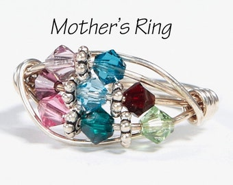 Grandmother's/Mother's Ring 8 Birthstones: Personalized Sterling Silver multistone Family. Eight Swarovski Birthstone Crystals. Mother's Day