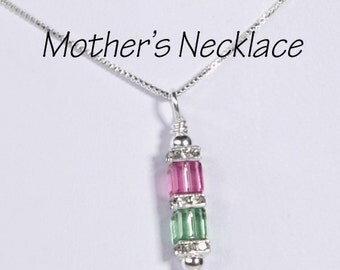 Mother's Necklace 2 Birthstones: Personalized Two Swarovski Crystals. Custom Family necklace. Christmas, Mother's Day, Valentine's Day gift