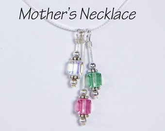 Mother's Necklace 3 Birthstones: Mother's Necklace with Three Swarovski Crystal Birthstones Drop Style