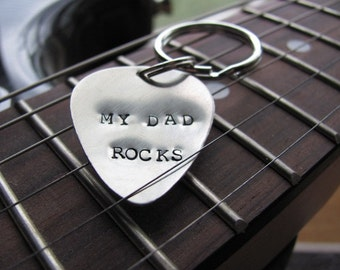 Hand Stamped Personalized Guitar Pick Key Chain: Guitar Pick in Nickel, Copper, Aluminum, or Sterling for Father's Day, birthday, Christmas