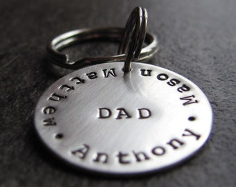 Personalized Dad Sterling Silver KeyChain : Hand Stamped Key ring With Kid's Names for Father's Day, Birthday, Christmas