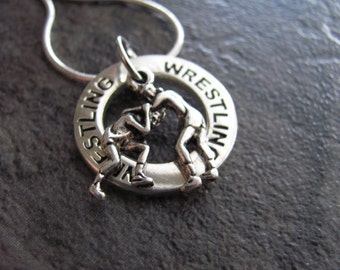 Wrestling Necklace: Silver Wrestling Charm Necklace