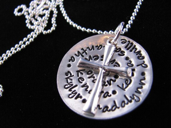 Personalized Necklace: Family of Faith Hand Stamped Sterling Silver Necklace