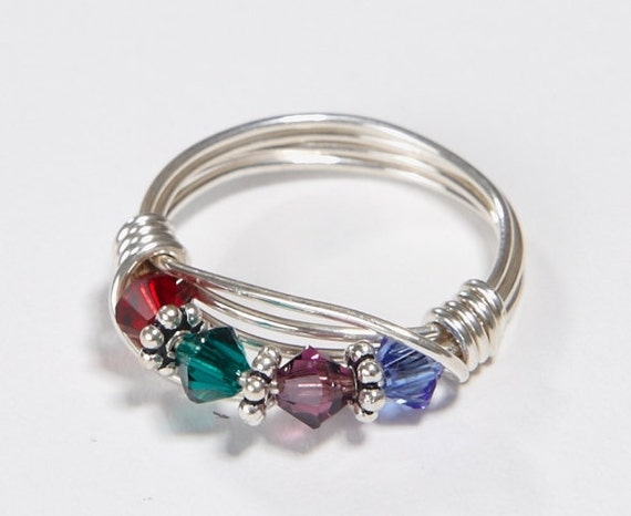 4 stone mother 39 s birthstone ring personalized by. Black Bedroom Furniture Sets. Home Design Ideas
