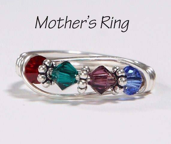 mother 39 s ring 4 birthstones sterling silver by. Black Bedroom Furniture Sets. Home Design Ideas