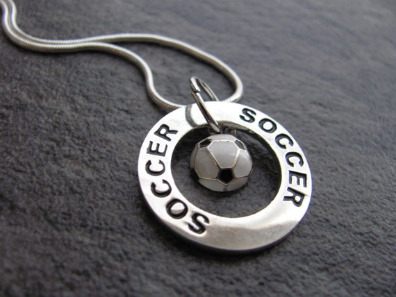 Soccer Necklace: Silver Soccer Charm pendant. Soccer and sports lover for Christmas, Valentines Day, birthday, graduation necklace