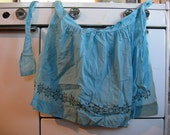 Blue Gingham Handmade Apron with Embroidery