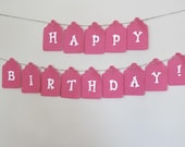 Felt Birthday Banner  SALE Dark Pink Tags with White Letters