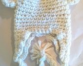 Little Creamy White Teddy Bear Crochet Hat for Baby or Toddler Boy or Girl/ Photo Prop