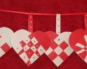 Danish Woven Paper Hearts - set of 5 w/envelopes