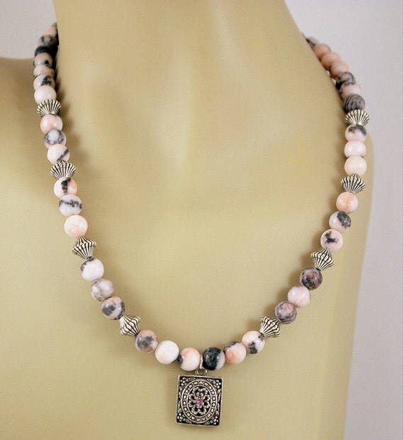 Pink Zebra Jasper Necklace with Pendant.  Resort Wear.  Romantic.