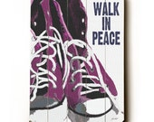 Wooden Art Sign Planked Walk In Peace wall art wall decor sneakers