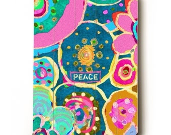 Wooden Art Sign Planked Peace Batik Hippie Garden wall decor