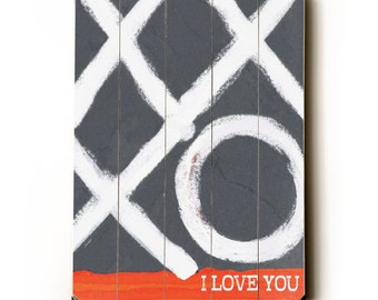 Wooden Art Sign Planked XO I Love You wall decor