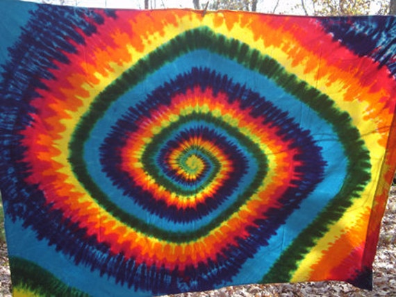 Classic Rainbow Spiral Tapestry