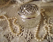 Vintage French Country  Cottage Trinket Box, cut glass covered jar