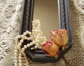Painted Vintage  Shabby Paris Apartment Distressed Black Oblong accent Mirror
