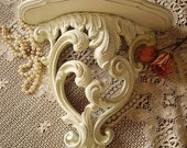 Ornate Baroque French Cottage Wall shelf white distressed