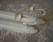 Shabby Cottage Cathedral candle sconce, wood, creamy white, distressed, metal PAIR