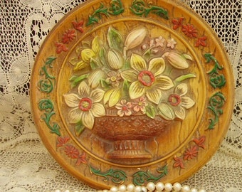 Vintage 1950s round ceramic wall plaque daffodils, cottage chic, rustic chic decor