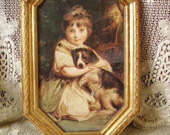 Vintage, French Country Cottage, Goldtone framed Picture, Girl and dog, Romantic home
