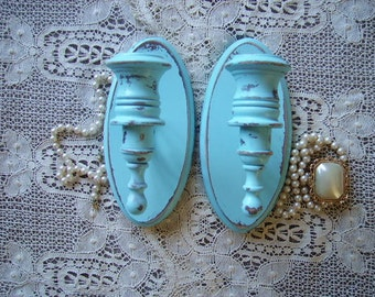 Shabby Cottage Robin Egg Blue Candle sconce PAIR