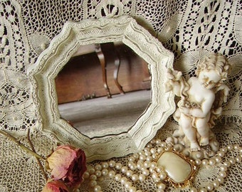 Small Fancy Octagon mirror, Shabby Heirloom White, French country, painted vintage