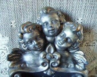 Vintage Hollywood Regency Cherulbs  ceramic wall pocket storage