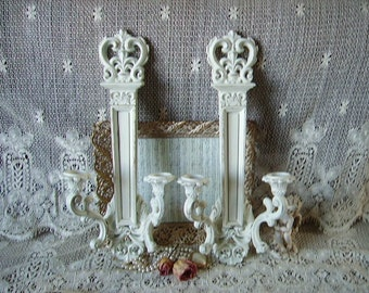 Shabby White, French Cottage Elegant, Wall Double Candle Sconce PAIR
