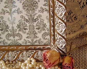 Vintage Elegant French Cottage Filigree Metal Picture with White distressing Frame 8 x 10