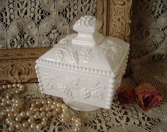 Vintage Embossed footed dish with cover, White, ceramic, trinket dish, candy dish, French country