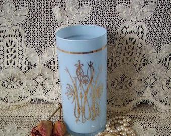 Vintage, Blue glass, Art Deco Pillar Vase, light blue with gold