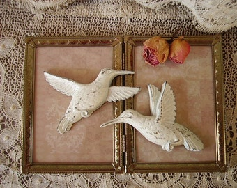 Vintage painted, Shabby Romantic Cottage Hummingbird PAIR, rustic chic white, wall decor