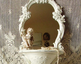 Baroque, French country, mirror shelf combo, elegant, Shabby white, distressed, painted Vintage