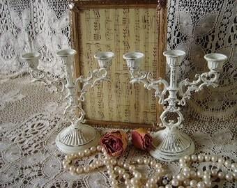Petite Shabby  Elegant mini Candleabra Pair, small, creamy white, distressed, metal, tube candles