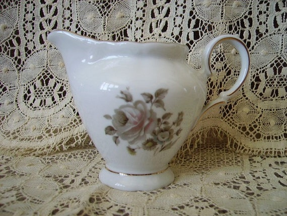 Vintage French Country Cottage White Creamer grey and pink rose