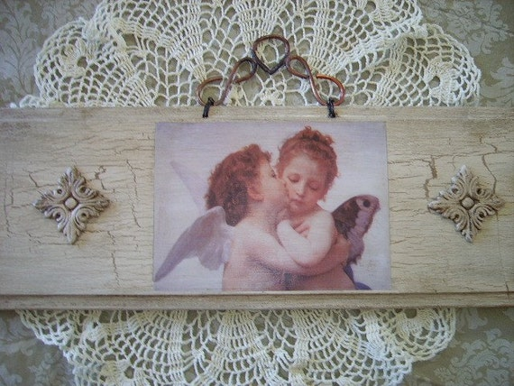 RESERVED AMBER Vintage Inspired  Kissing Angels Salvaged Wood  Wall Panel Decor
