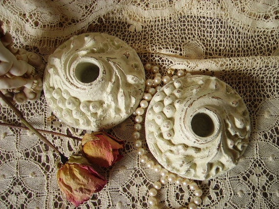 TREASURY ITEM Shabby Country Cottage  Vintage painted Candle holders PAIR, grape design, distressed, creamy white
