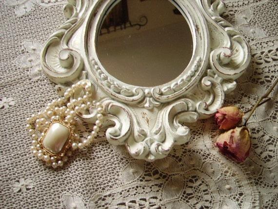 RESERVE TERRI Shabby Chic Baroque French Cottage Elegant Mirror medium Chippy White