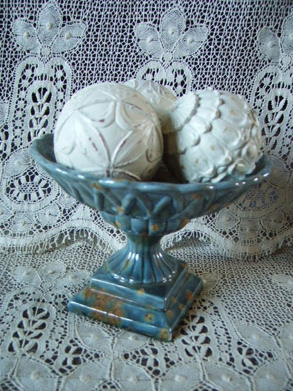 Pedestal Bowl/Tray Blue And Brown Elegant, MOD