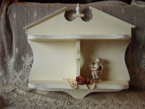 Shabby French Country Cottage Wall Shelf, Distressed, Creamy white